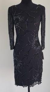 Akira Open Back Black Sequin Sheer Dress Sz S